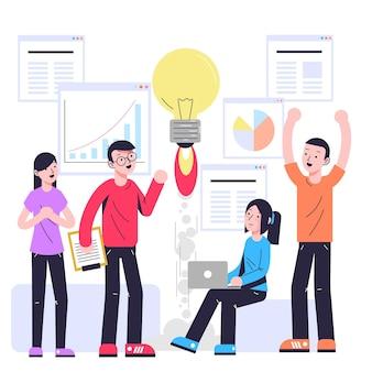 Personas que comienzan una ilustración de proyecto empresarial.