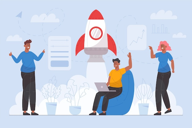 Personas que comienzan un proyecto empresarial ilustrado.