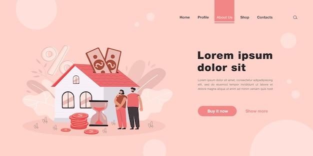 Personas que compran una casa con una página de inicio de préstamos hipotecarios en estilo plano