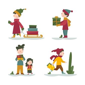 Personas que compran colección de regalos de navidad
