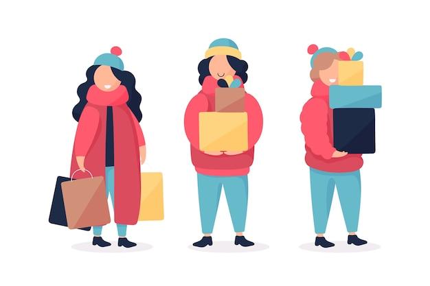 Personas que compran regalos festivos