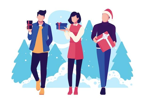 Las personas que compran regalos de navidad y tienen árboles en el fondo