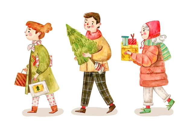 Personas que compran regalos de navidad