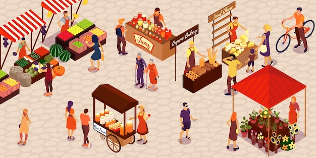 Personas que compran verduras, frutas, miel, queso, pan, flores, mermelada, en el mercado agrícola, isométrico