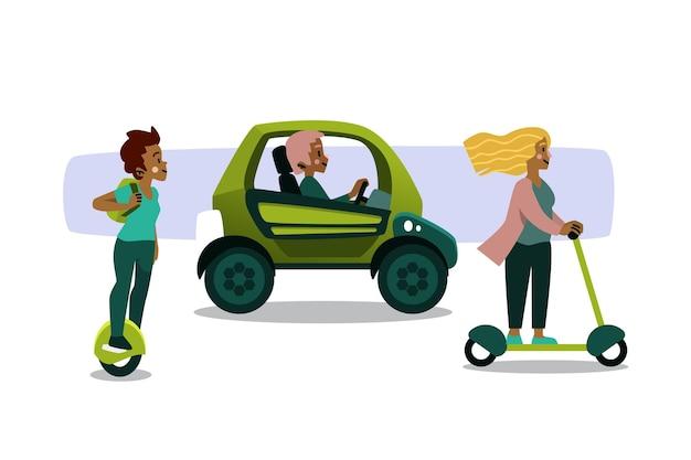 Personas que conducen recogida de transporte eléctrico