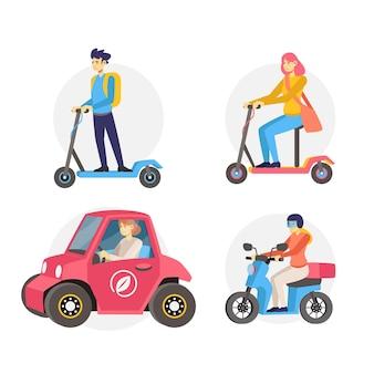 Personas que conducen el sistema de transporte eléctrico