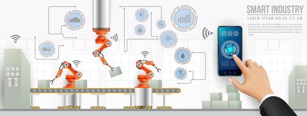 Personas que se conectan con una fábrica mediante un teléfono inteligente e intercambian datos con una red neuronal.
