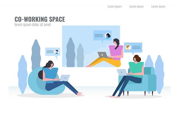 Las personas que conversan y trabajan en el espacio de co-working.