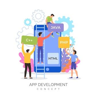 Personas que crean juntas una nueva aplicación