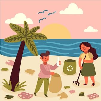 Personas que cuidan el medio ambiente limpiando la playa