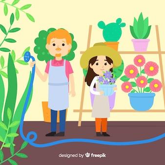 Personas que cuidan las plantas.