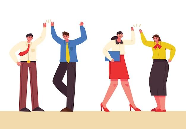 Personas que dan cinco concepto para ilustración