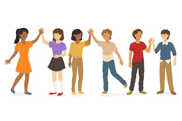 Personas que dan concepto de cinco alta ilustración