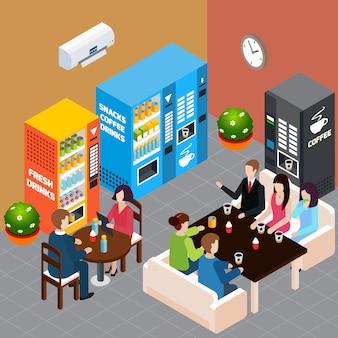 Las personas que descansan en el café con máquinas expendedoras que venden café caliente refrescos y aperitivos ilustración isométrica del vector 3d