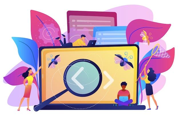 Personas que detectan errores en la pantalla del portátil con la ilustración de soportes angulares