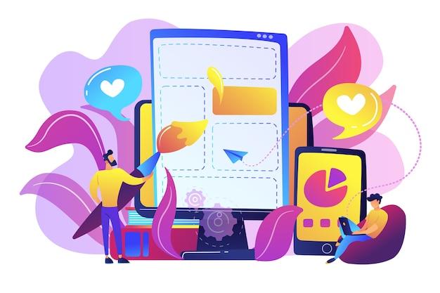 Personas que dibujan elementos de la página web en el teléfono inteligente y la ilustración de la pantalla lcd