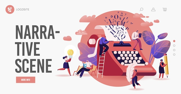 Personas que disfrutan de la narración, lectura de literatura, plantilla de página de destino de poesía. pequeños personajes en una enorme máquina de escribir pluma y lápiz leyendo o escribiendo libros, poemas, prosa. ilustración vectorial de dibujos animados