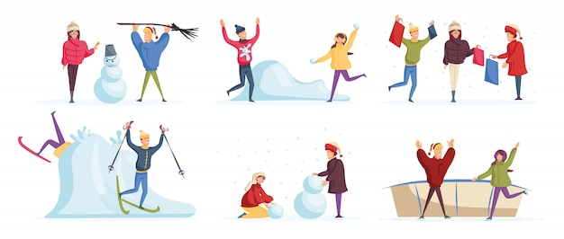 Personas que se divierten en invierno personajes de dibujos animados conjunto.