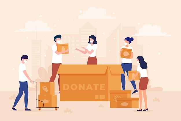 Personas que donan material sanitario en tiempo de cuarentena ilustrado