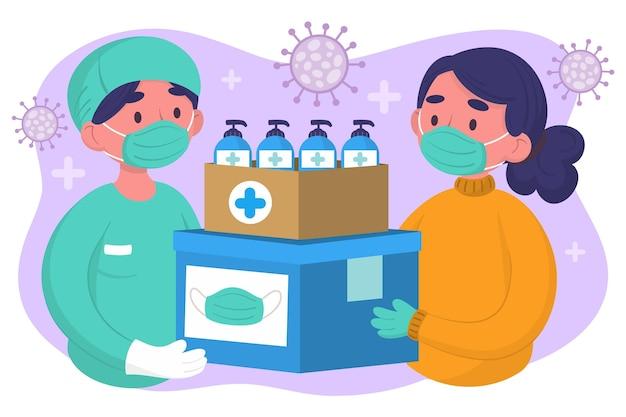 Personas que donan material sanitario