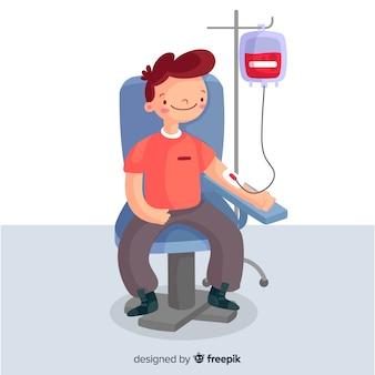 Personas que donan sangre diseño dibujado a mano