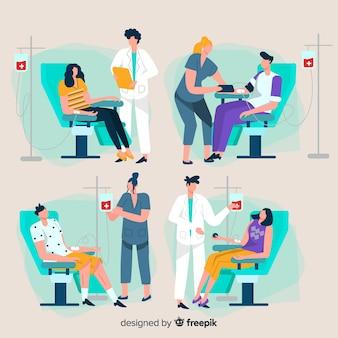 Personas que donan sangre en un hospital