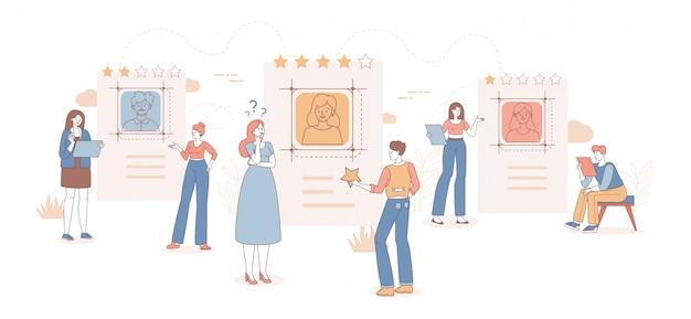 Las personas que eligen amigos o buscan una pareja en la aplicación de citas de dibujos animados ilustración del esquema.