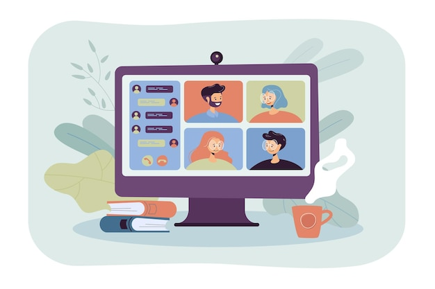 Personas que se encuentran en línea a través de una ilustración plana de videoconferencia. grupo de dibujos animados de colegas en el chat colectivo virtual durante el bloqueo