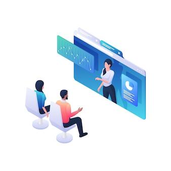 Personas que escuchan la ilustración isométrica del seminario web de estadísticas informativas. personajes masculinos y femeninos discutiendo en gráficos de negocios de entrenador de niña de conferencia en línea. concepto de investigación y aprendizaje.