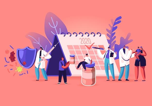 Las personas que esperan la vacunación se paran cerca del enorme calendario con la marca de verificación 2020. ilustración plana de dibujos animados