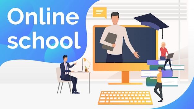 Personas que estudian en la escuela en línea, libros de texto y maestros.