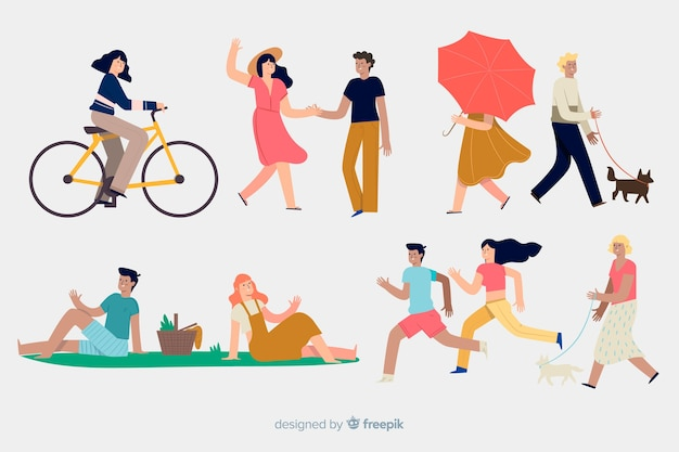 Las personas que hacen diferentes acciones al aire libre