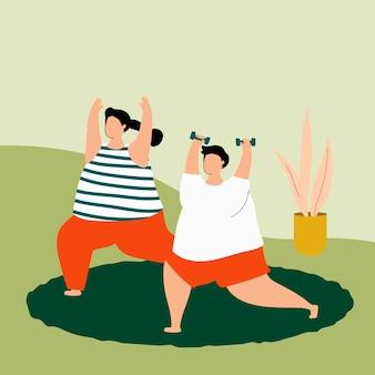 Personas que hacen ejercicio en casa durante la propagación del virus.