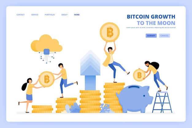 Personas que invierten comprando bitcoins para aumentar la inversión en criptomonedas