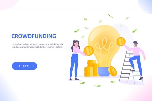 Personas que invierten dinero en la idea, recaudación de fondos o crowdfunding