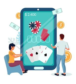 Personas que juegan al póquer juego móvil de casino en línea, ilustración vectorial. aplicaciones móviles de casino. industria del juego.