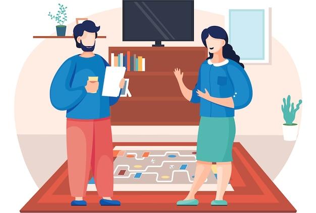 Personas que juegan un juego de mesa en casa, ilustración de dibujos animados, ambiente acogedor en la sala de estar por la noche. hombre y mujer, familiares o buenos amigos pasan tiempo juntos con un juego de lógica el fin de semana