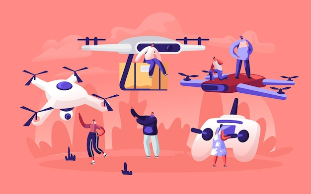 Personas que juegan y usan drones para la entrega de correo postal. ilustración plana de dibujos animados