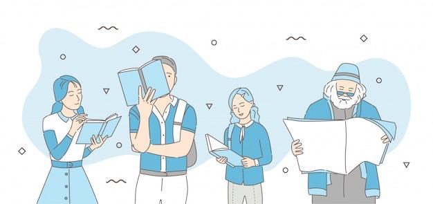 Las personas que leen libros, periódicos y revistas de dibujos animados ilustración.