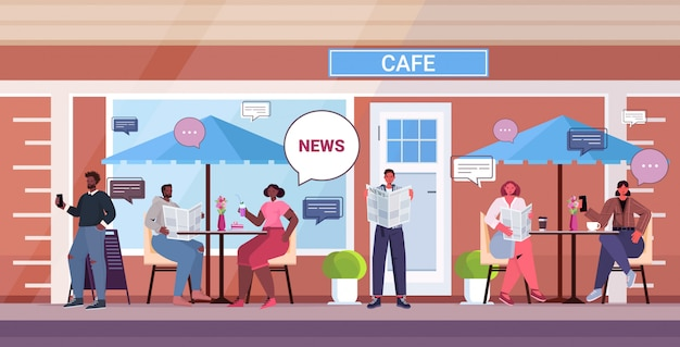 Personas que leen periódicos discutiendo las noticias diarias durante la pausa para el café, el concepto de comunicación de burbujas de chat, mezcla de visitantes de carrera, sentados en las mesas de café de la calle, ilustración horizontal de longitud completa