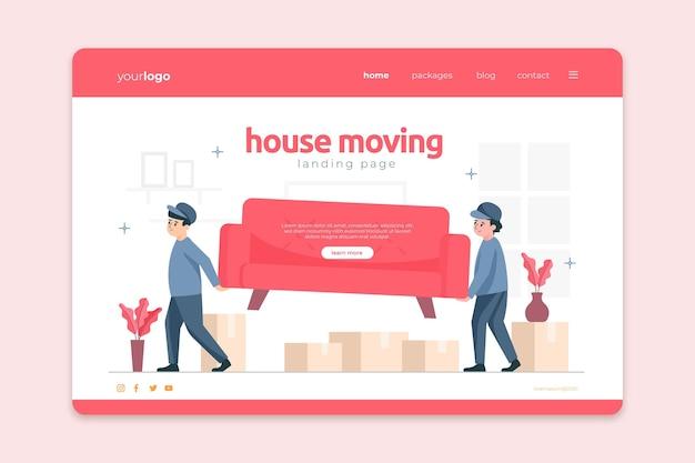 Personas que llevan muebles, casa, mudanza, servicios, página de inicio