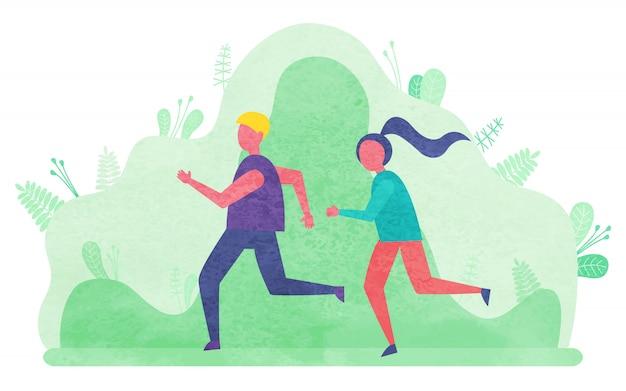 Personas que llevan personajes de jogging de estilo de vida activo
