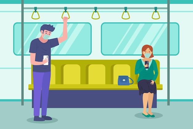 Personas que mantienen su distancia en transporte público