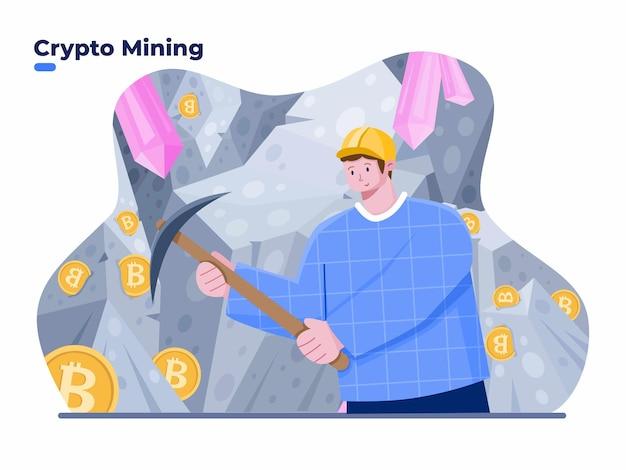Personas que minan monedas criptográficas con ilustración del concepto de pico proceso de minería criptográfica de moneda digital hombre cavando y extrayendo bitcoins en la cueva de la mina minero criptográfico exitoso