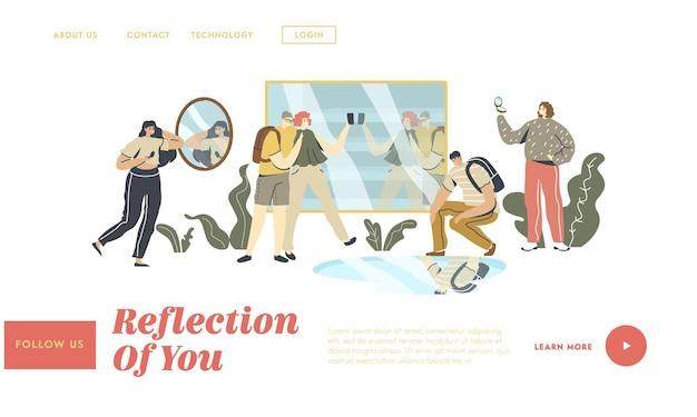 Personas que miran la plantilla de página de destino de reflejo de espejo