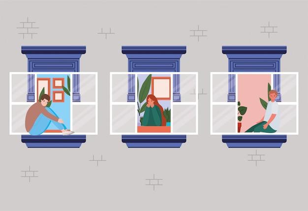 Las personas que miran por las ventanas desde el diseño de la casa gris, se quedan en casa ilustración del tema