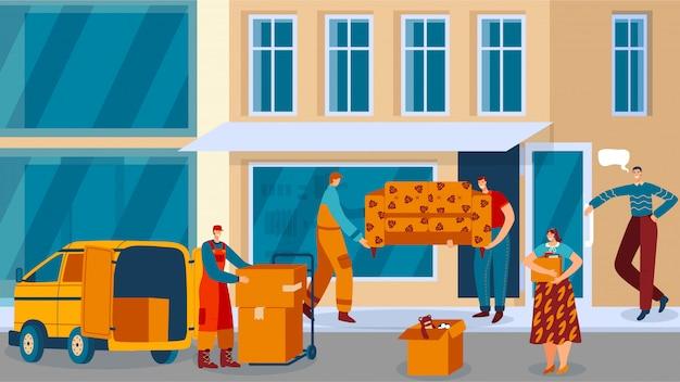 Personas que se mudan al departamento de la ciudad nueva, transporte de muebles y servicio de entrega de cajas, ilustración