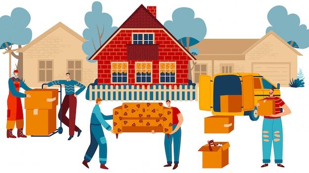 Personas que se mudan a casa nueva, transporte de muebles y servicio de entrega de cajas, ilustración