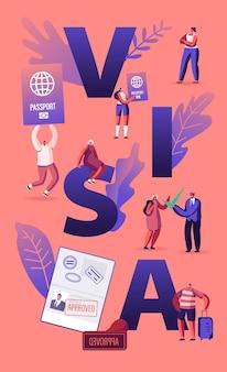 Personas que obtienen el concepto de visa. ilustración plana de dibujos animados