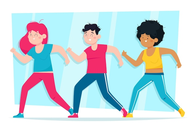 Personas que participan en una clase de baile y fitness.